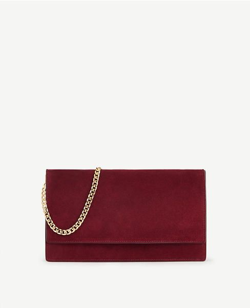 Suede Foldover Clutch