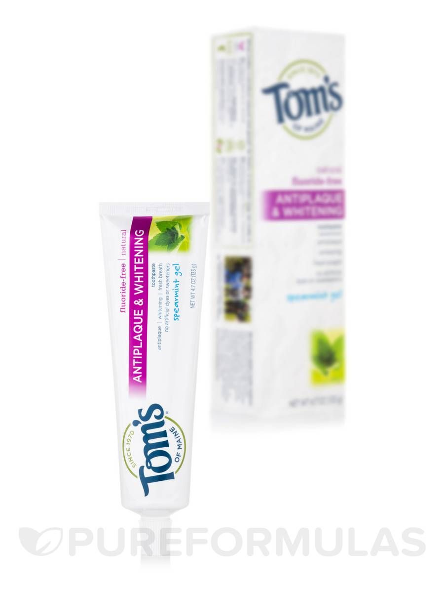 Fluoride free antiplaque whitening toothpaste gel spearmint 47 oz 133 grams by toms of maine