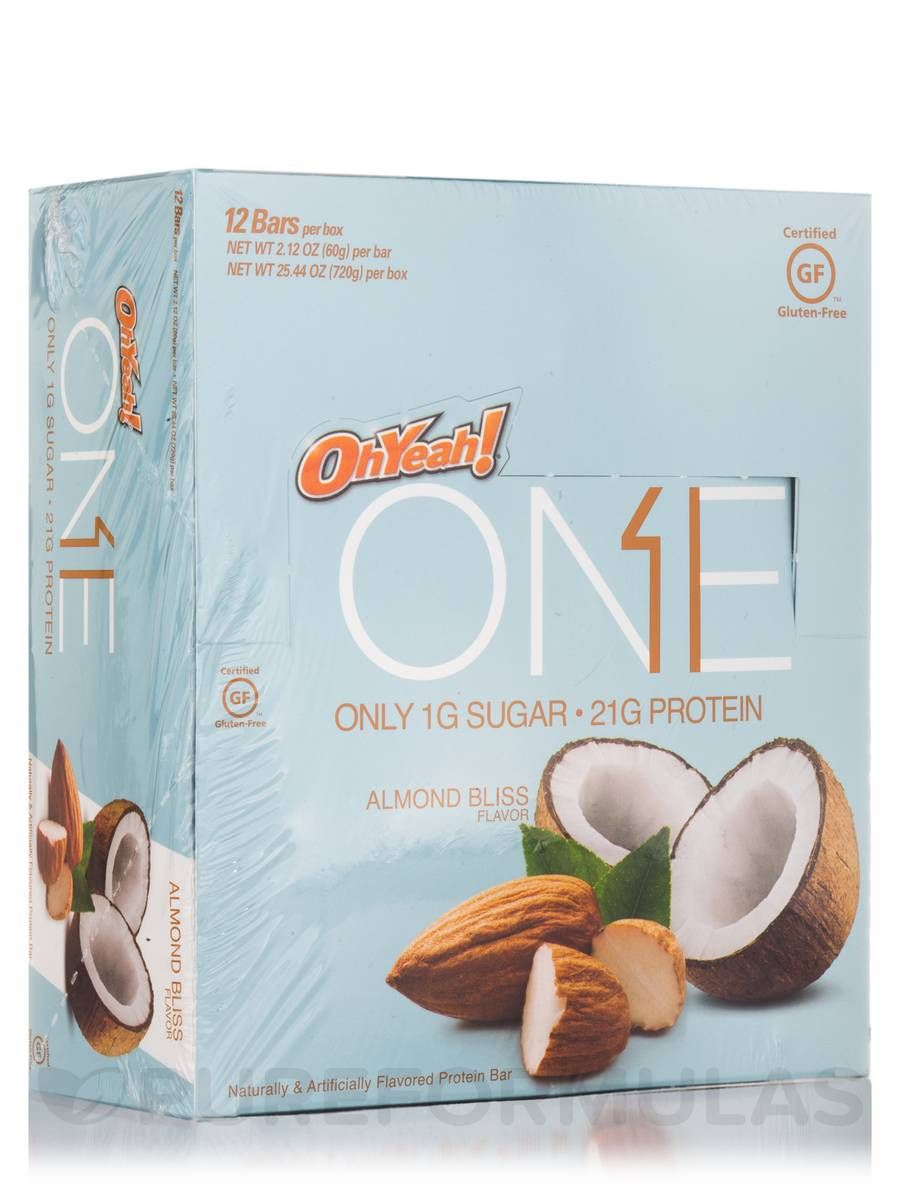 Oh yeah one bar almond bliss box of 12 bars 212 oz 60 grams each by iss research