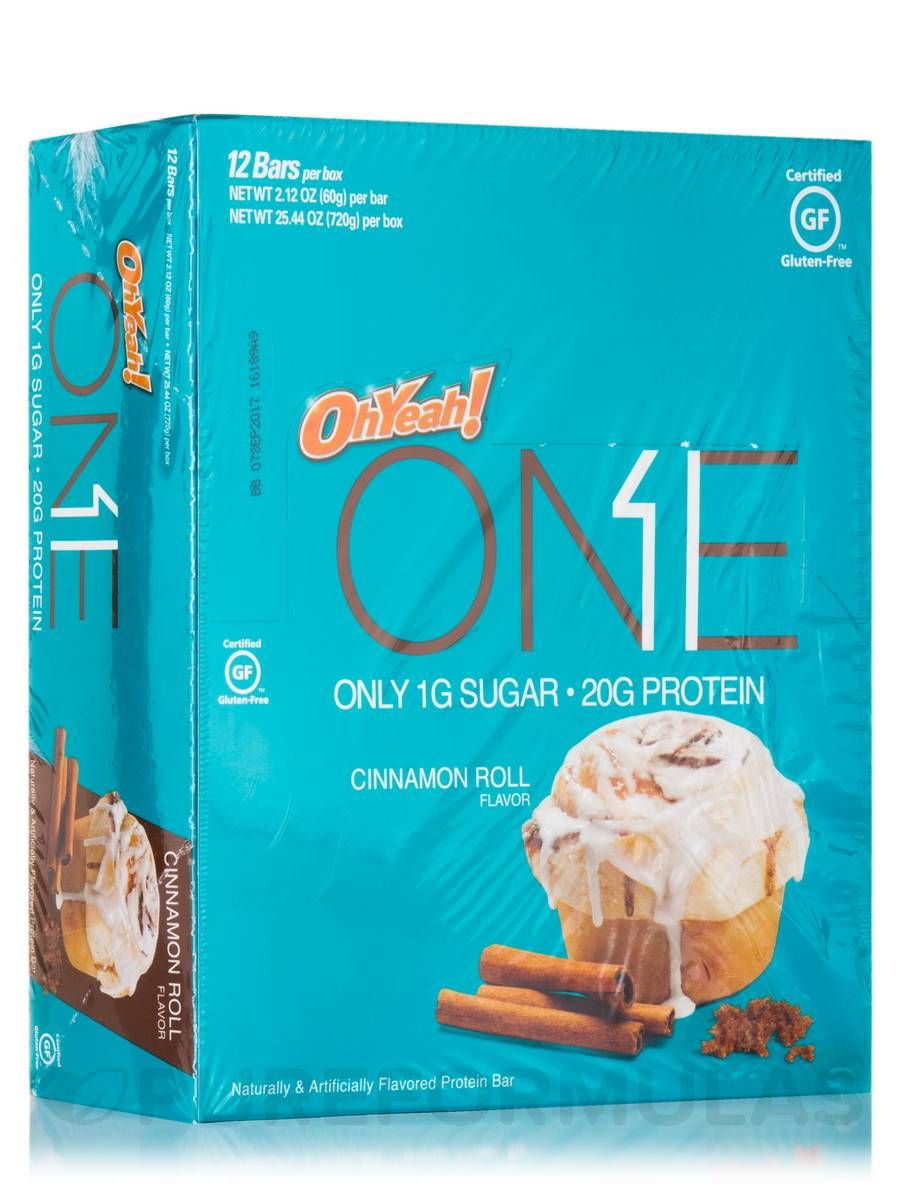 Oh yeah one bar cinnamon roll flavor box of 12 bars 212 oz 60 grams each by iss research