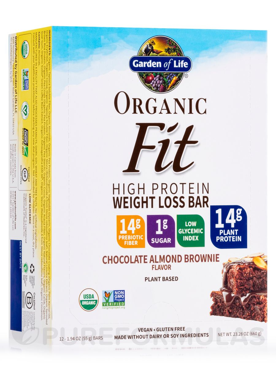 Organic fit high protein weight loss bar chocolate almond brownie box of 12 bars by garden of life