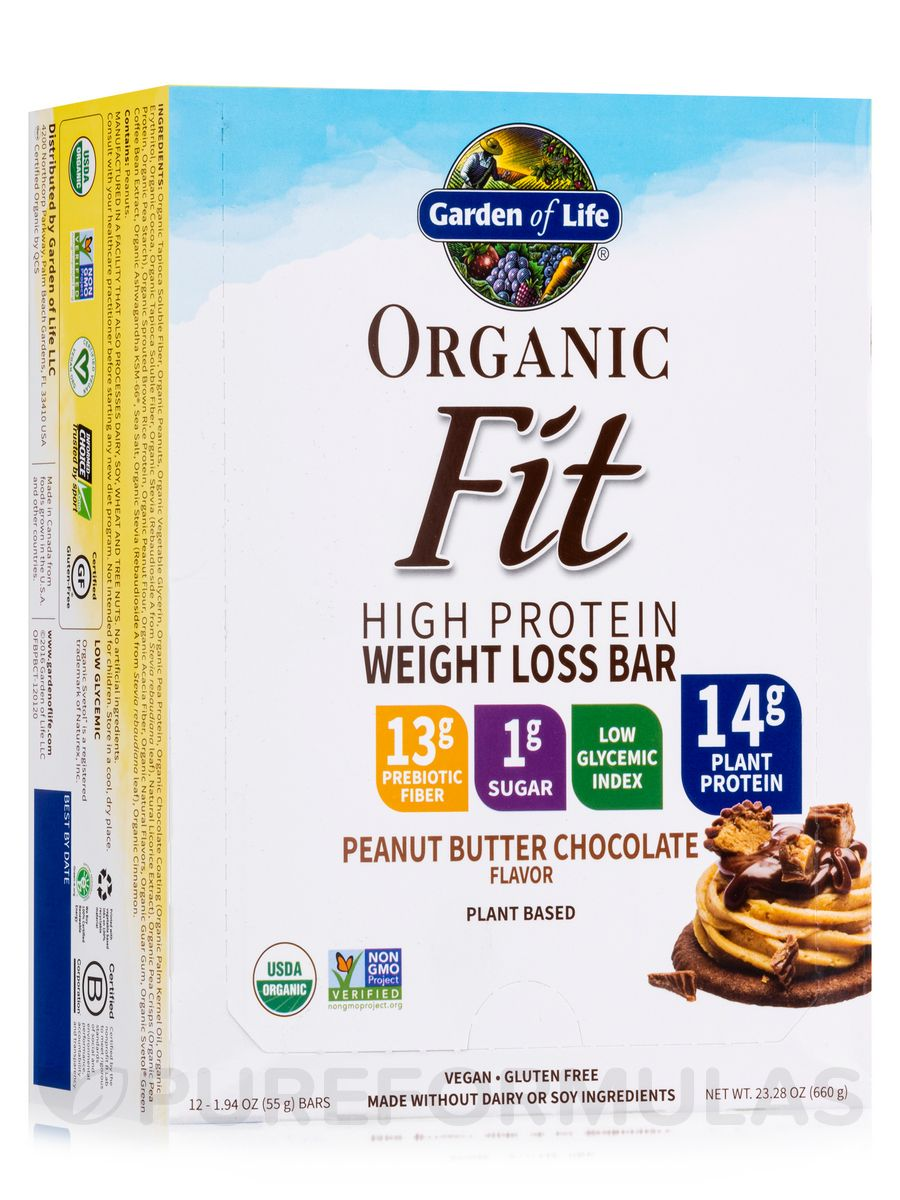 Organic fit high protein weight loss bar peanut butter chocolate 12 19 oz each by garden of life