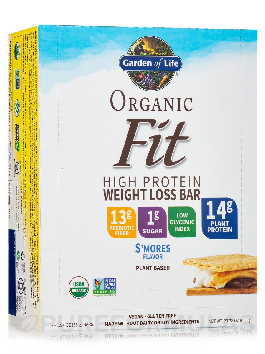 Organic fit high protein weight loss bar smores box of 12 bars 19 oz 55 grams by garden of life