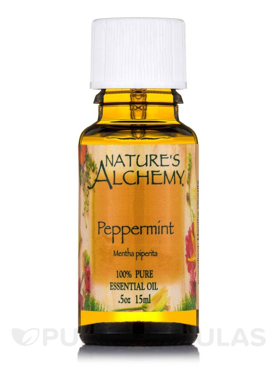 Peppermint pure essential oil 05 oz by natures alchemy