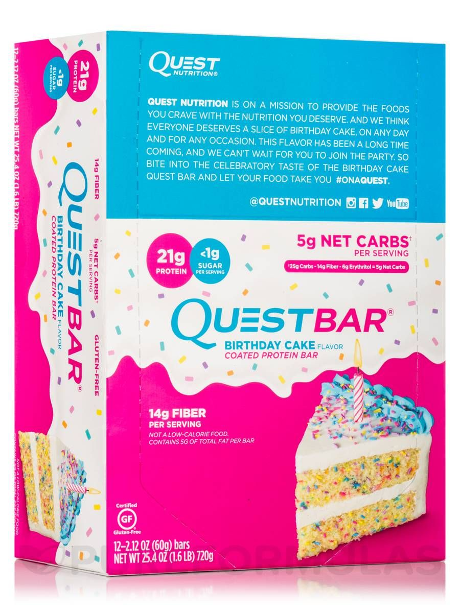 Quest bar birthday cake flavor protein bar box of 12 bars 212 oz 60 grams by quest nutrition